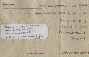 An anonymous postcard sent to PostSecret.