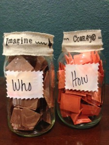 """Who"" and ""How"" jars for the challenge."